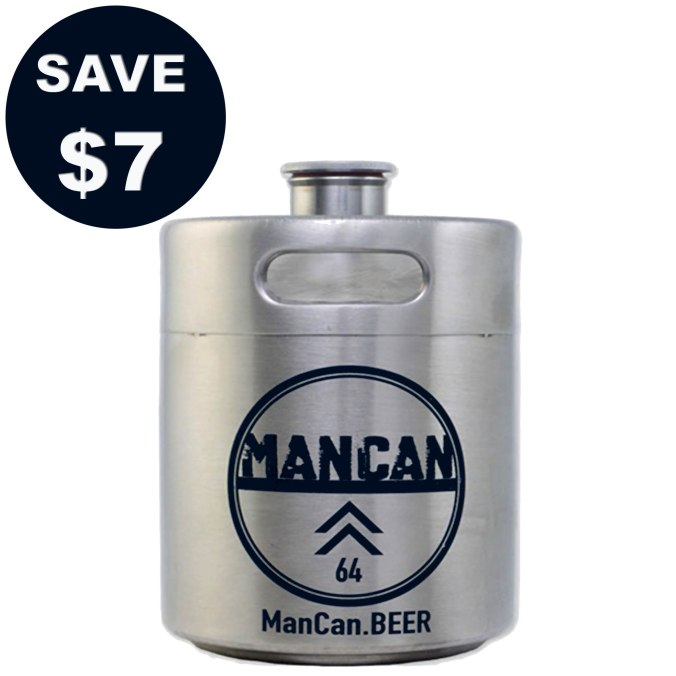 ManCan Promo Code #promo #coupon #code #mancan #man #can #stainless #steel #ss #growler #minikeg #mini #keg #pressurized