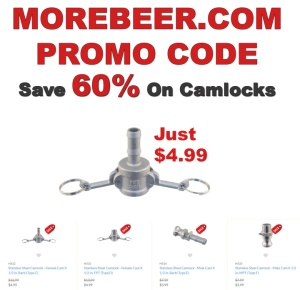 Save 60% At MoreBeer.com On Homebrewing Stainless Steel Camlock Fittings